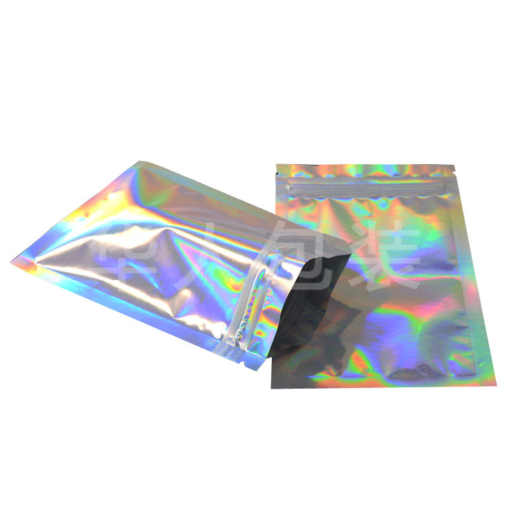 MOQ 100 Pink Mylar Bags Smell Proof Hologram Holographic Zip Seed Gummie Package