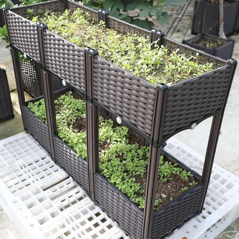 Self Watering Plastic Rectangular Raised Bed Elevated Plastic Outdoor Garden Vegetable Flower Herb Planter Box