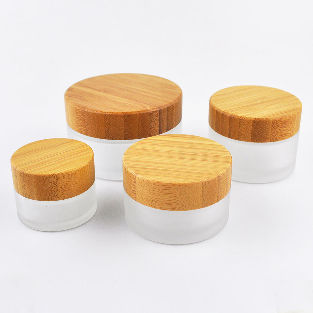 beauty products sample container frosted glass cosmetic bottles jars 50ml with bamboo lid