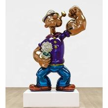 Modern Movie Cartoon Character Polished Stainless Steel Popeye Art Sculpture for Outdoor Decoration
