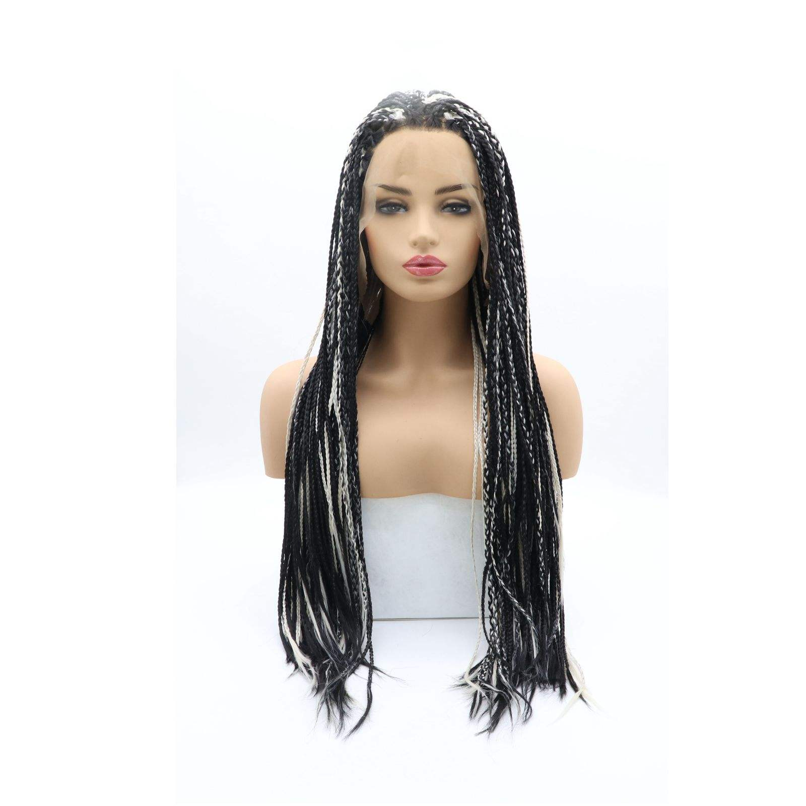LINDAL hand tied black with highlights fiber resistant to heat 180% density supplier braid wig synthetics hair