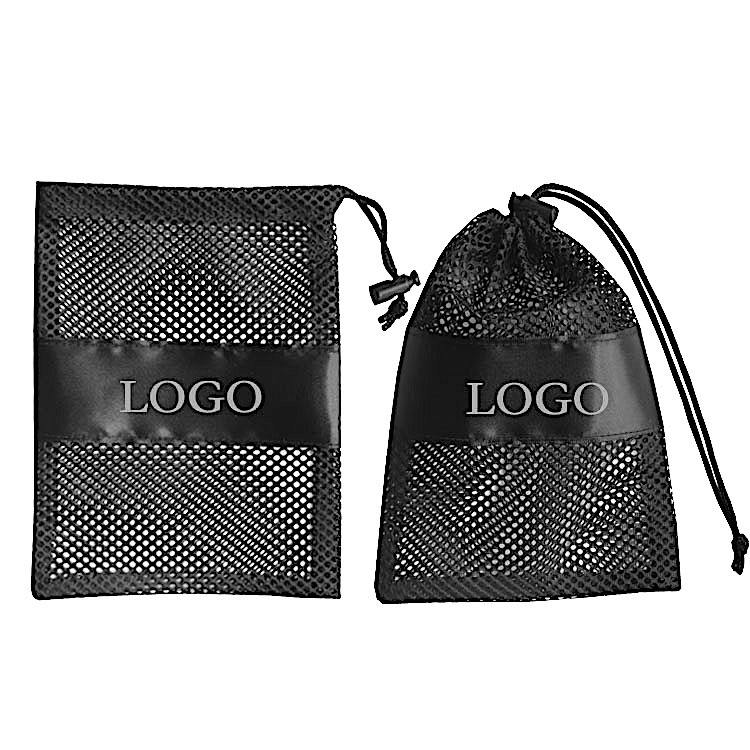 Black custom wholesale clothing shoes packaging drawstring net bag