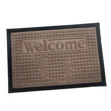 Anti slip custom embossed welcome logo rubber door outdoor floor mat