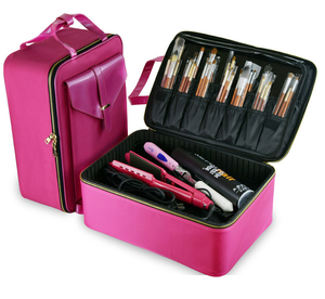 Pink 4 Layers Make Up Traveling Case Large Zippered Cosmetic Bag