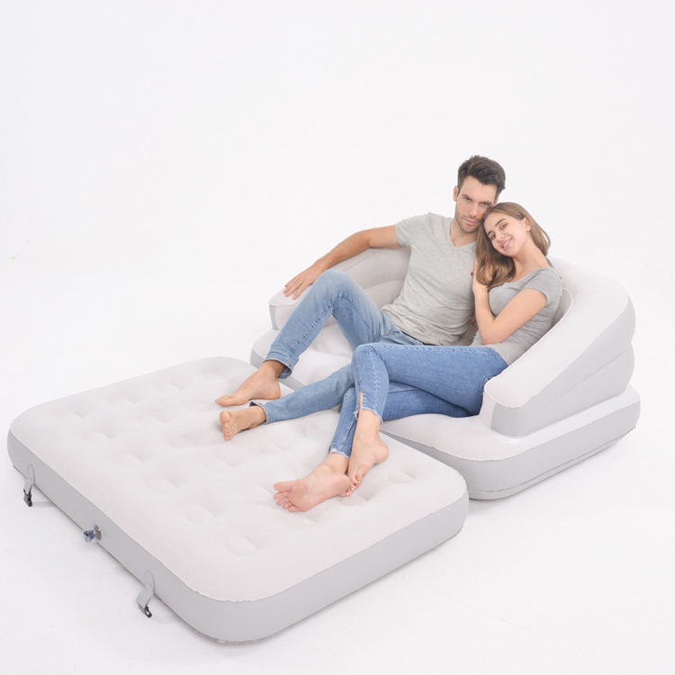 Multi-function folding lounger air mattress inflatable sofa bed with backrest