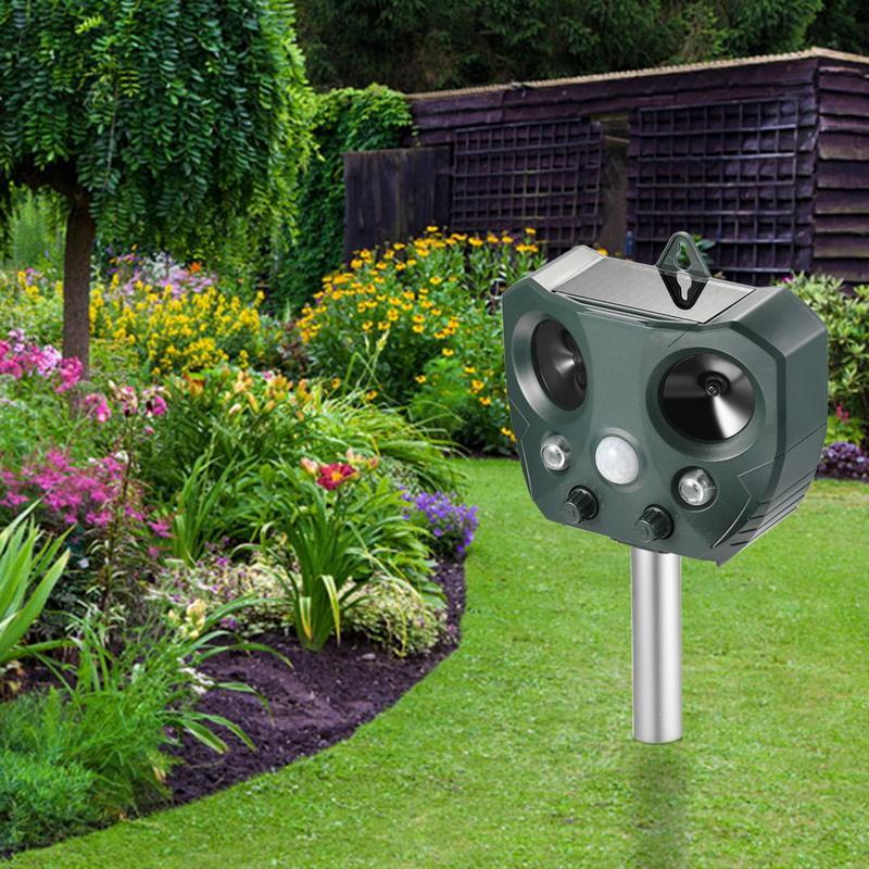 Avanzada PIR ultrasónico animal dispositivo repelente para perro y gatos para proteger el jardín