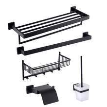Black matt toilet roll holder bathroom towel rack towel racks for small bathrooms