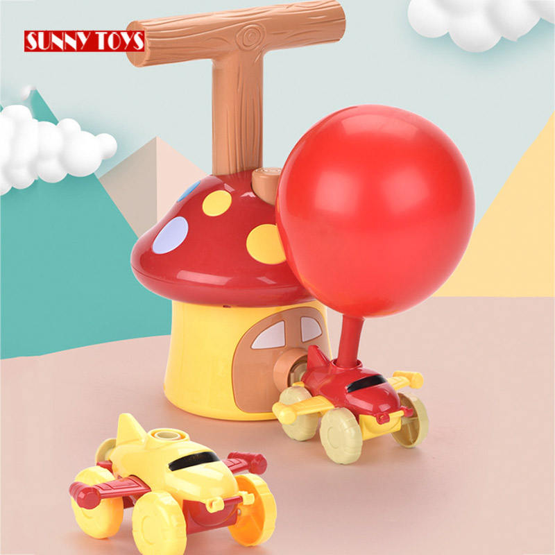 children educational science game air power balloon launcher car toy set race airplane balloons for kids