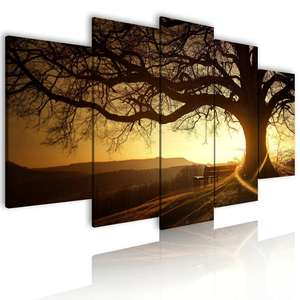 Venta al por mayor de envío 5 Panel Árbol pintura para sala decoración de la pared paisaje casa decoración pared arte