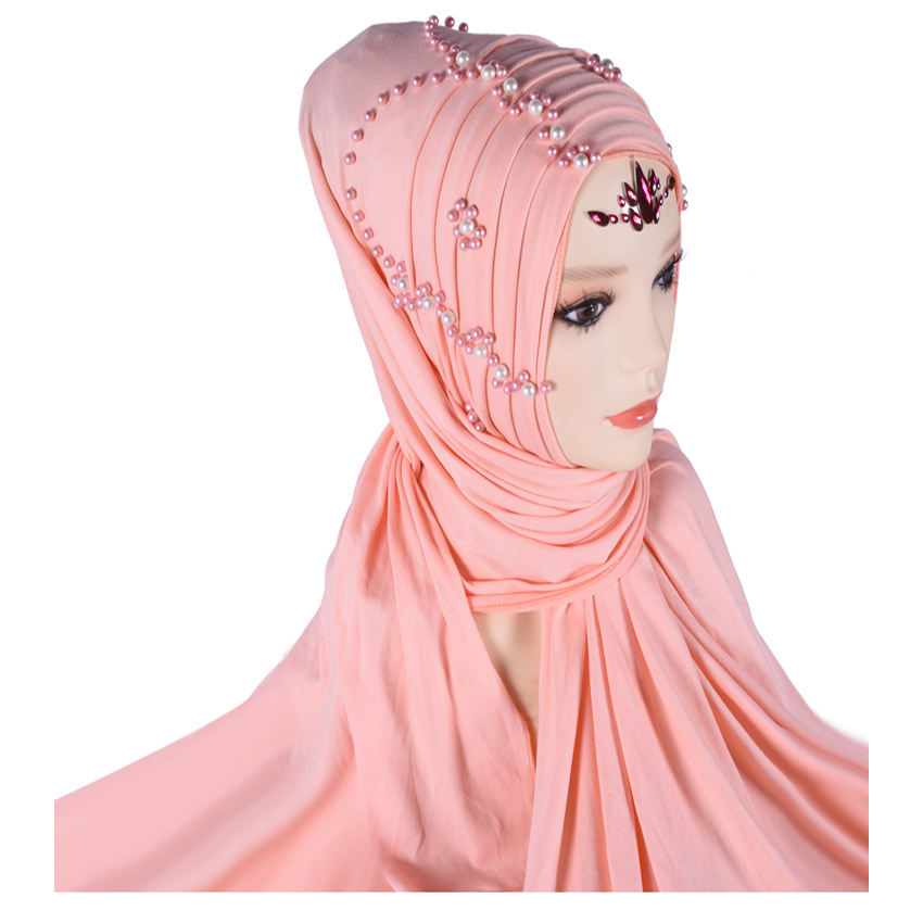 M-60 Wholesale Jersey Polyester Cotton Hijab Scarf Rhinestone Muslim scarves