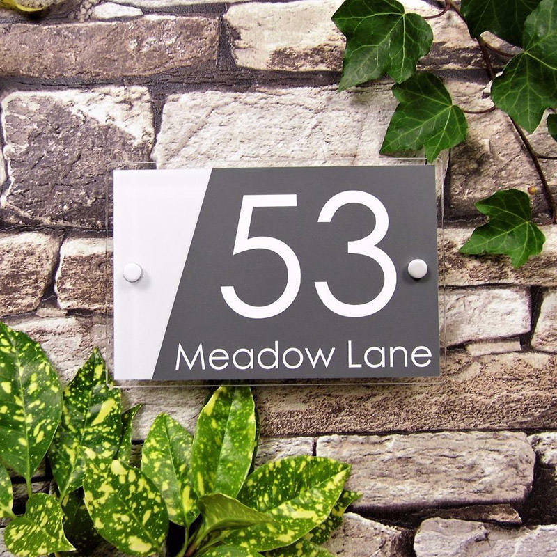 Modern House Personalised Door Number Street Plate Plaque Acrylic Signs For Your Home