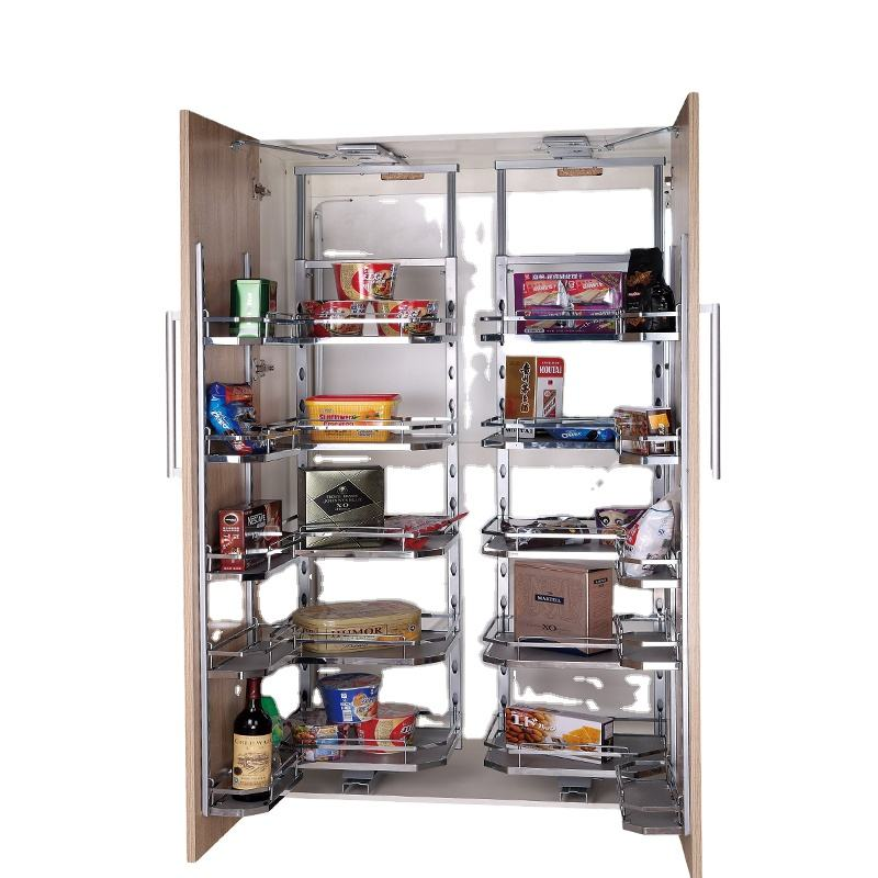 TKK kitchen shelves and baskets pull out MDF board pantry unit organizer kitchen cabinet storage basket hanging