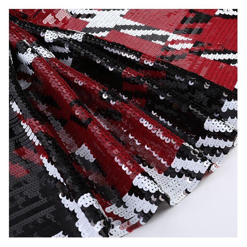 Haute Couture Red Black and White Plaid Sequins Textile Suit Fish Scale Sequin Fabric