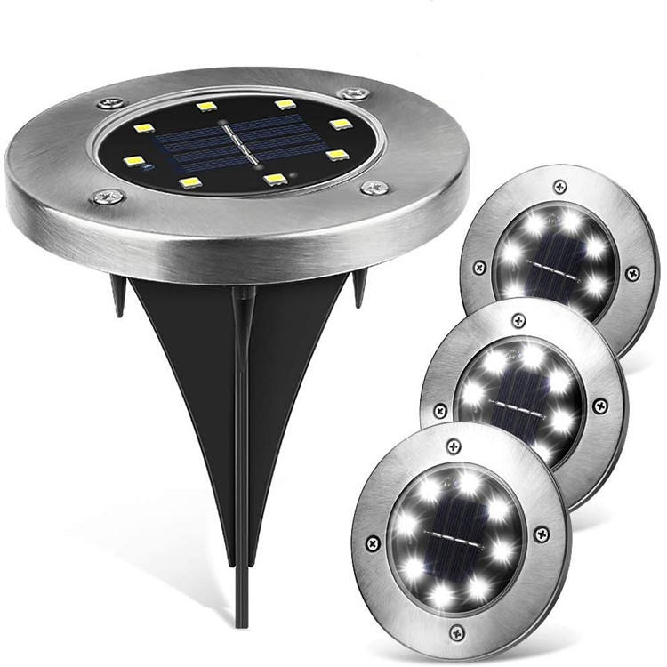 Amazon Ebay Hot Sale 8 Auto On/off Night Security Disk Powered Led Garden Light Walkway Outdoor Solar Ground Lights