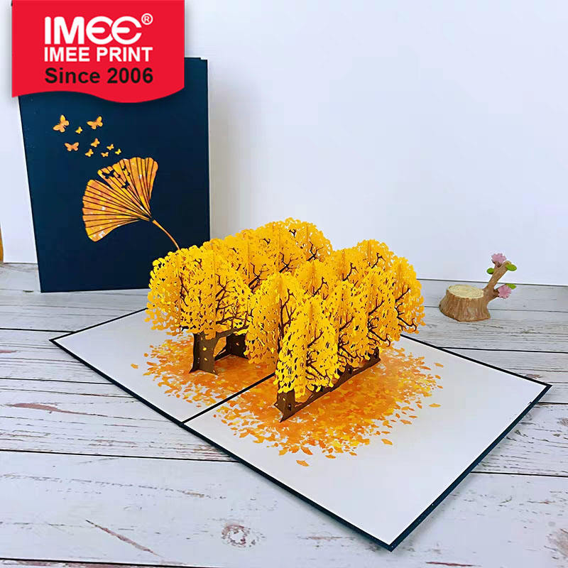 IMEE Ginkgo Tree 3D Greeting Card Fancy Autumn Birthday Thanksgiving Teacher's Day Greeting Card