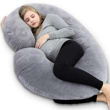 Soft winter warmer gray velvet C Shaped Full Body sleeping Pregnancy Body Pillow with Velvet Cover