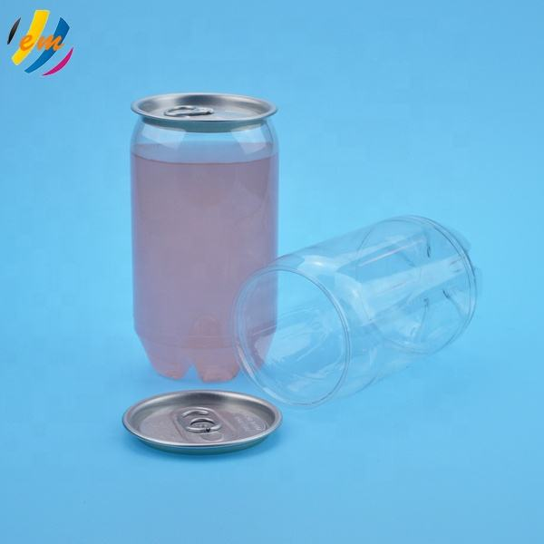 Hot sale transparent PET plastic beverages can for drink soda coffee