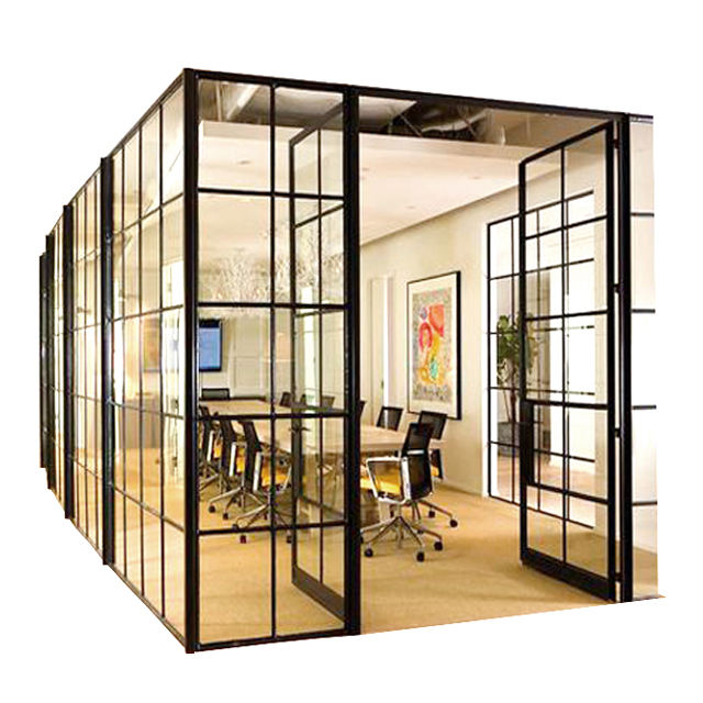 Frame hidden aluminum poder coating glass wall partitioning for office meeting conference room office partition glass wall