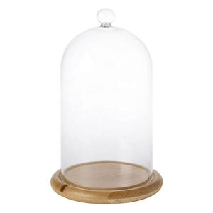 Wholesale Clear Glass Dome,Handmade bell cloche glass display dome with base and led light
