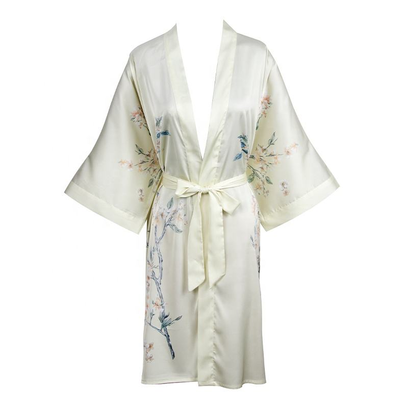 Pijamas de las mujeres de baño bata <span class=keywords><strong>casa</strong></span> vestido bata de baño de impresión Floral cómodo corto ropa para damas