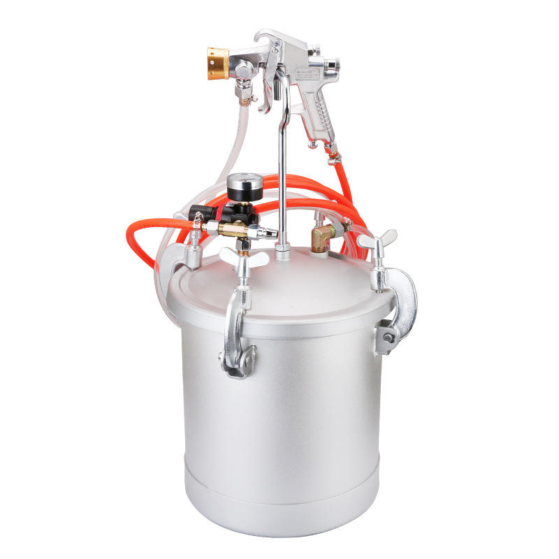 15L Feed Texture Coating Tank Pot Pressure Bucket With PT-871 Colourful Air Spray Gun Fluid Hose Assembly Paint Sprayer System