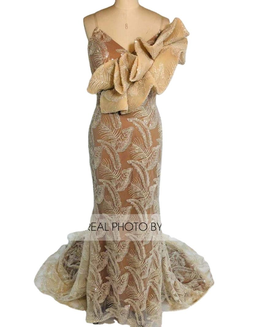 Gold Dubai Color Womens Long Mermaid Luxury Sequin Evening Dress