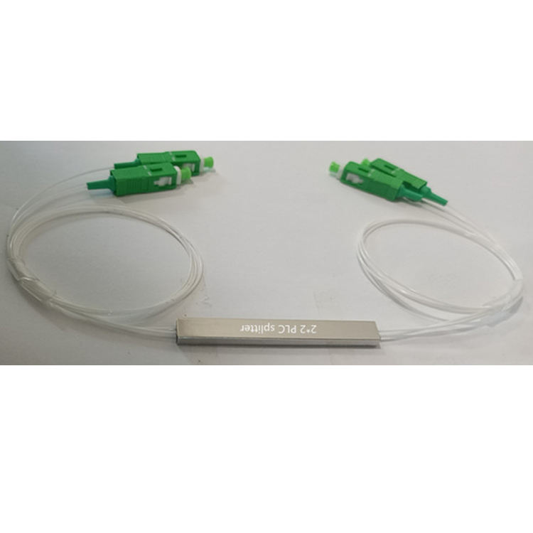 FTTH planar waveguide color or white 1m SC / APC... In / out 0.9mm g657 A1 A2 steel tube 2x2 PLC splitter