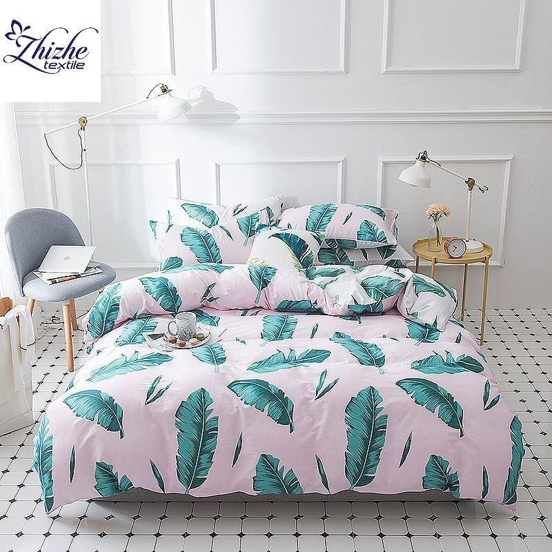 Pastoral style Bodhi leaf printed 4 pieces cotton bed cover set