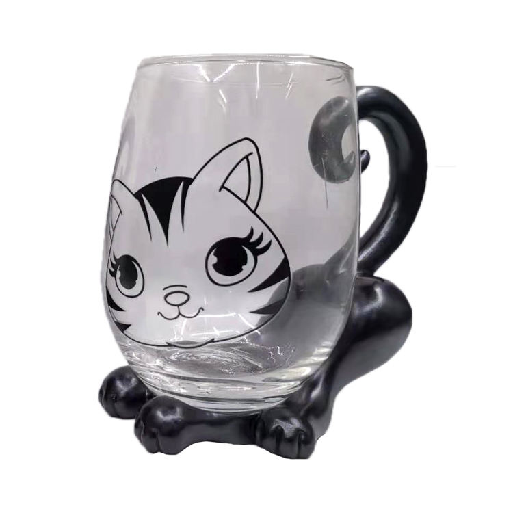 Cerative glass cat mug cute cat cup