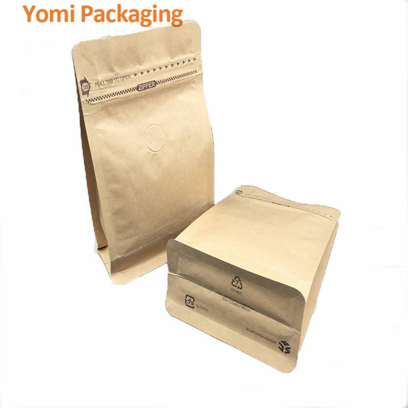 Food grade foil kraft paper doypack quare bototm side gusst bags for coffee bean , powder