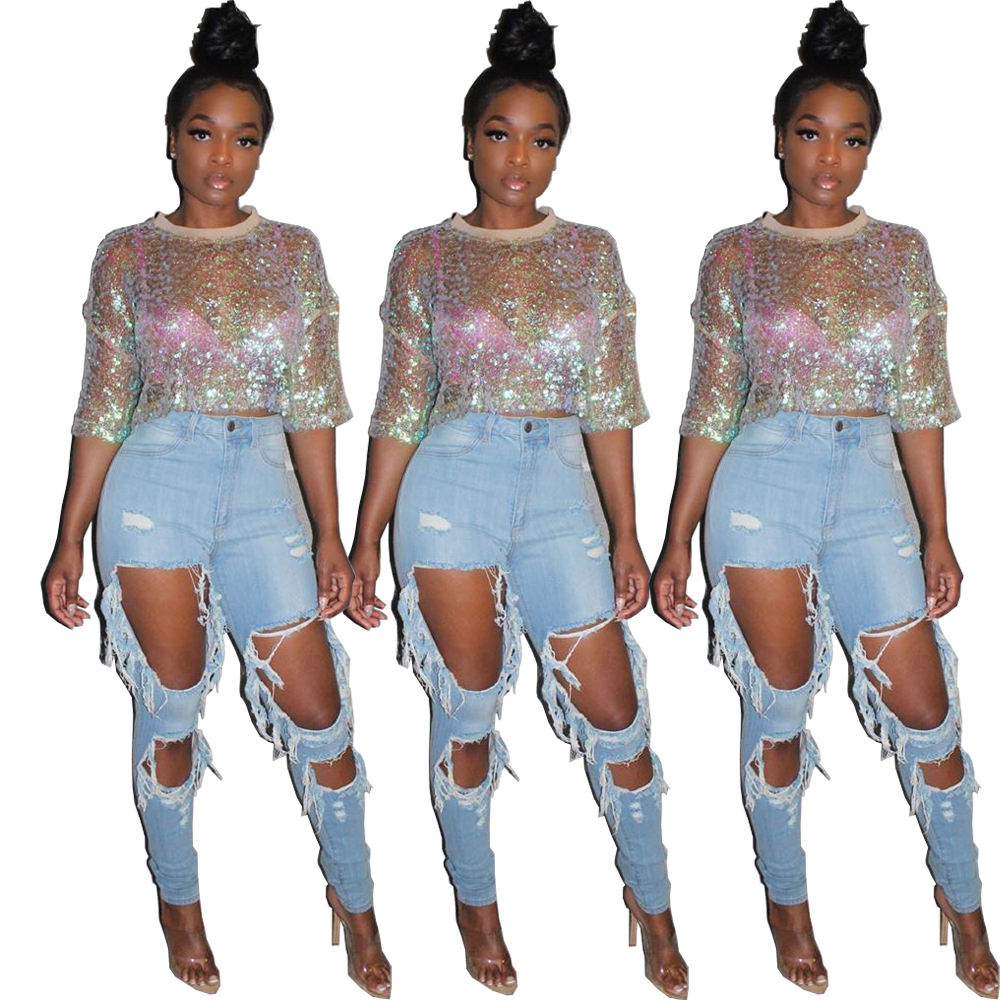 Women clothing high quality plus size sexy mid-sleeved midriff sequined transparent party top clubwear blouse SS-DN8281