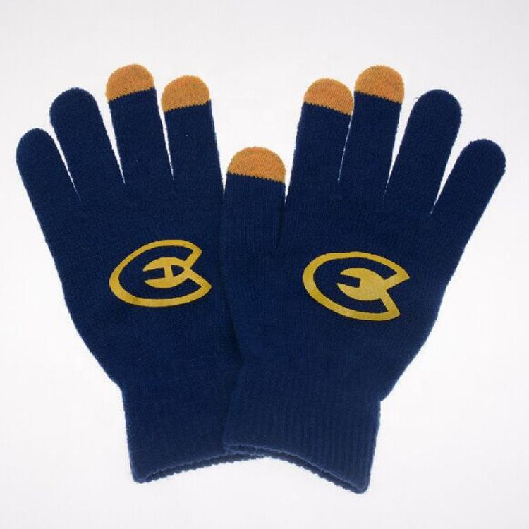 wholesale custom print logo touch screen magic texting fashion knitted lady gloves