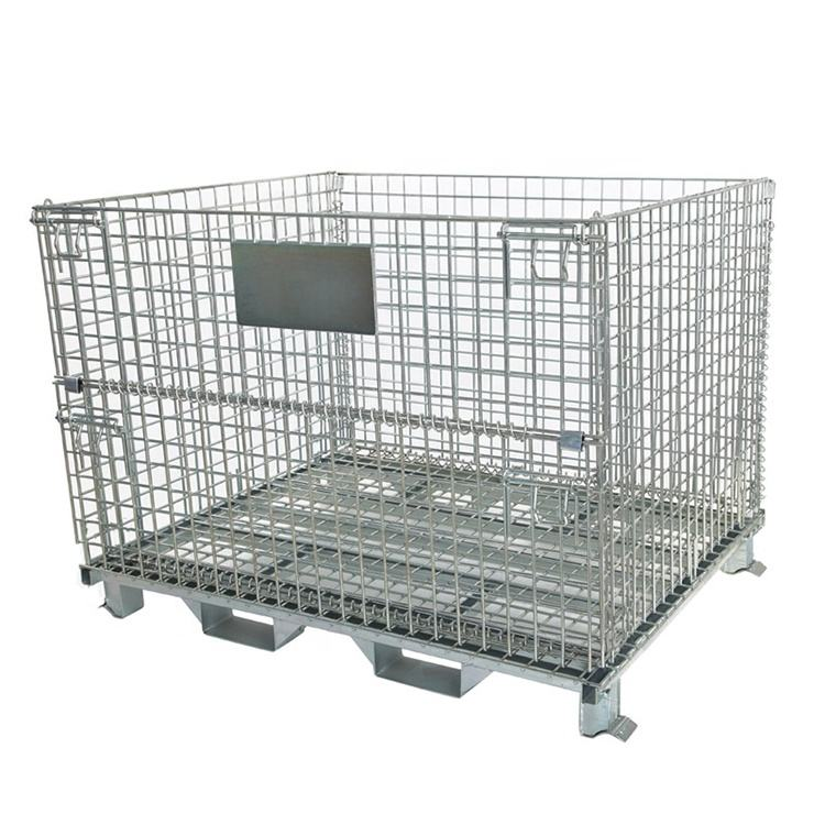 Customized heavy duty galvanized foldable collapsible metal storage wire mesh container