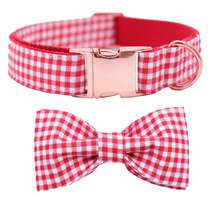 Amazon High Quality Plaid Adjustable Breakaway Pet Cat Dog Collar with Bowtie , Rose Gold Adjustable Dog Collar Bowtie