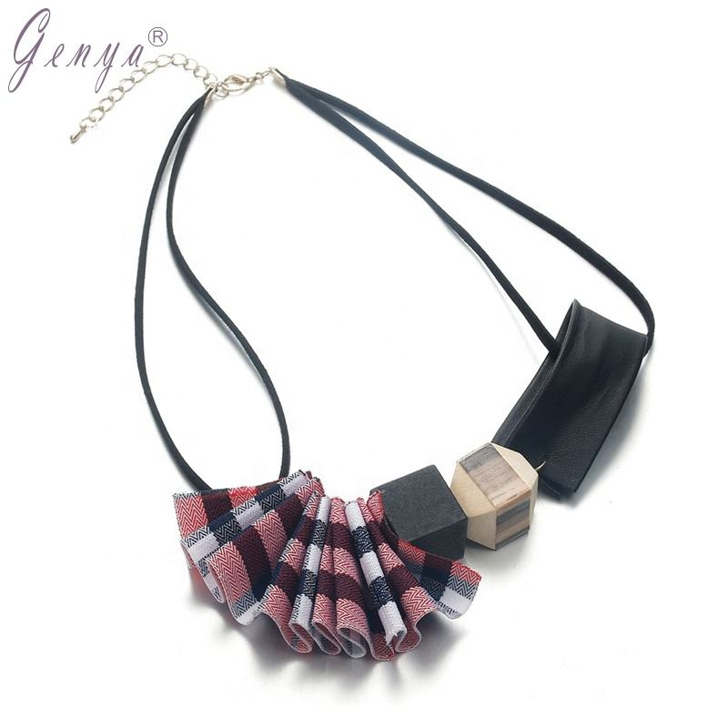 GENYA personalize necklace Leather Chain Choker Collar Wood Geometric Fabrics Women Necklace