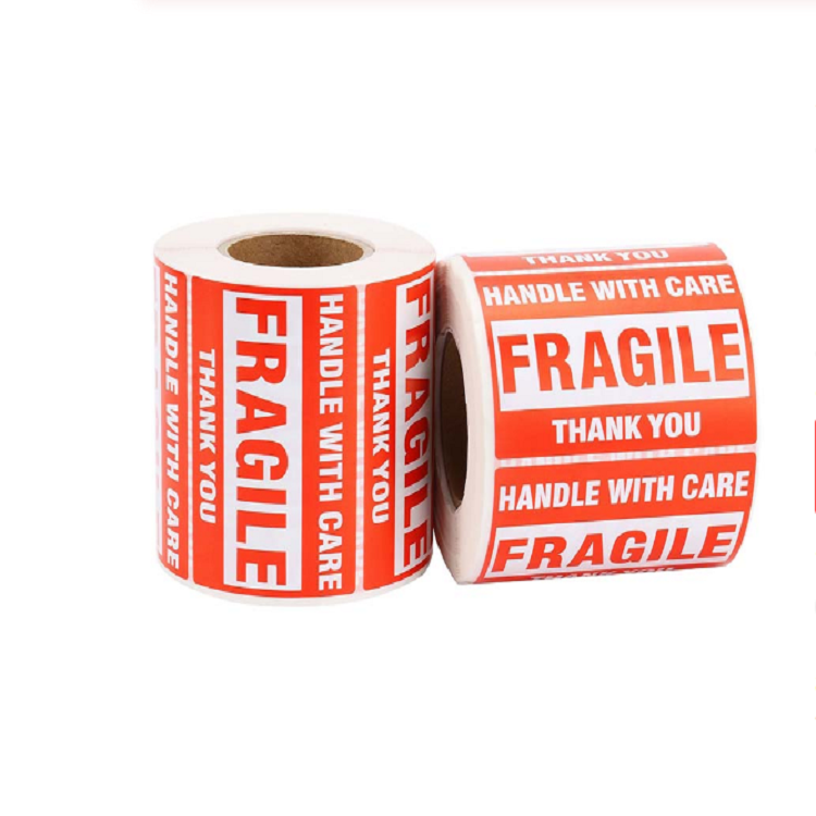 Devon in stock Fragile handle with care High Quality Printing Self Adhesive Letter Labels Die Cut White PVC Promotional Sticker