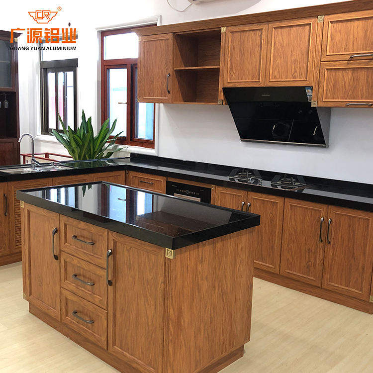 modern dampproof modular alloy aluminium wood grain kitchen cabinet