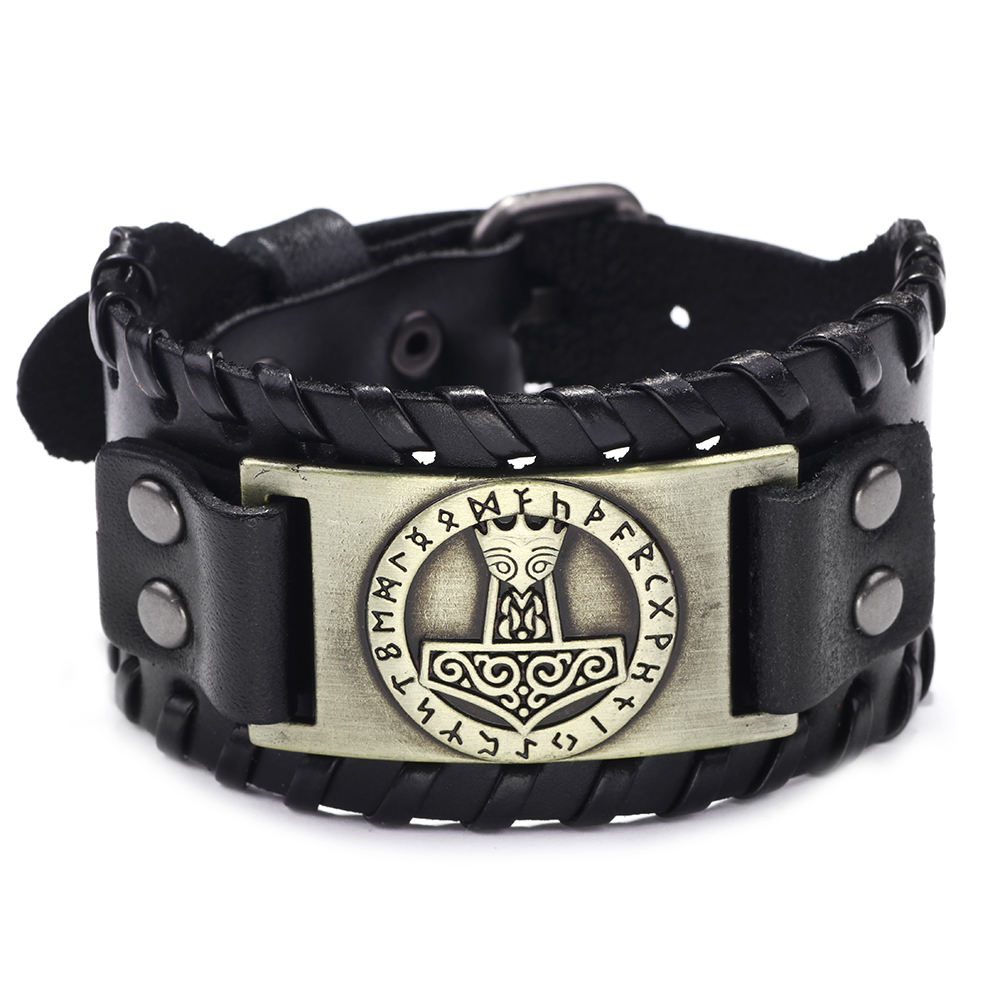 Retro vinking style alloy metal charm men's wide leather bracelet adjustable metal buckle bracelet