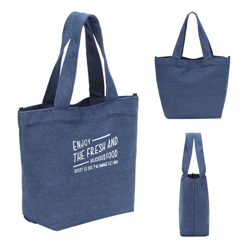 Eco-friendly custom cotton soft denim fabric shopping bag folding denim tote lunch bag small tote bag with printed logo