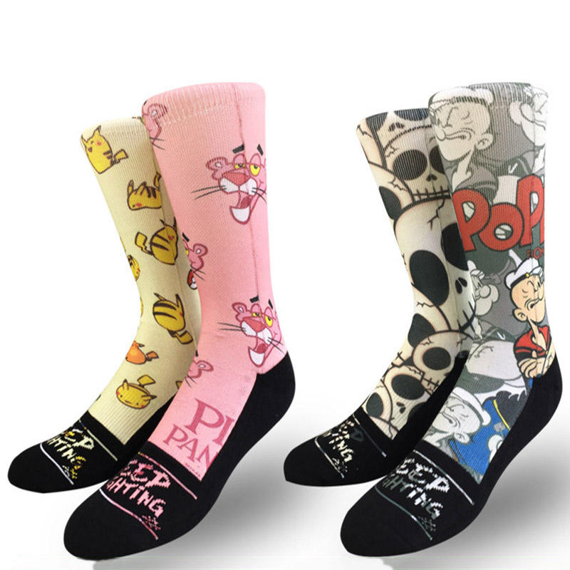 Printed Socks For Men Custom Sport Fashion Colorful Cartoon Socks Adults Sublimation Street Style Socks