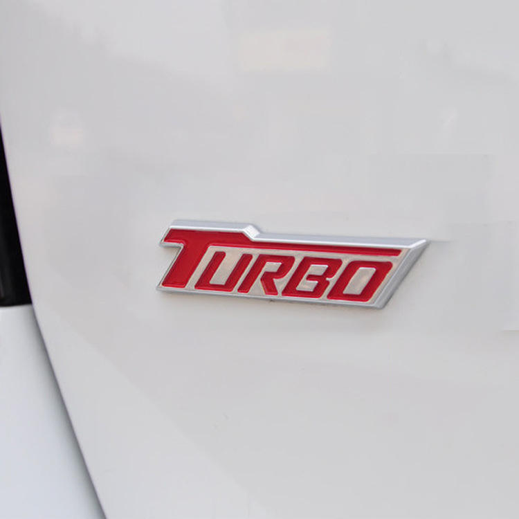 3D Metal TURBO Car Side Fender Rear Trunk Emblem Badge Sticker Decals for Universal Cars Moto Bike Decorative Accessories cruze
