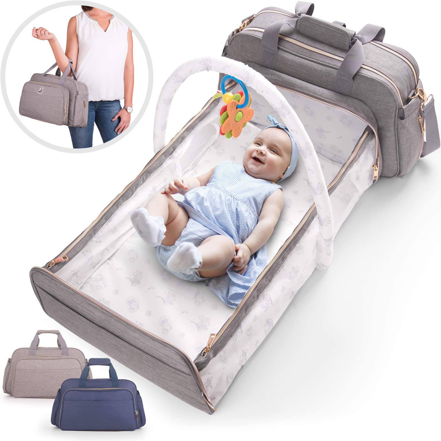Stylish waterproof large 2 in1 multifunctional convertible travel tote mommy bags duffle baby diaper bag