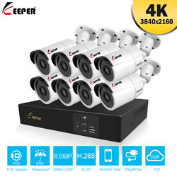 Keeper 8CH 4K Ultra HD POE Network  Security Camera System 8MP H.265+ NVR With 8pcs 8MP Weatherproof IP CCTV Camera