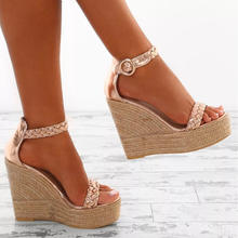Explosion trend setting fashion women sexy fish mouth high heels platform wedge shoes fabric straws rope knot laddies sandals