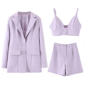 Fashion new 2020 fall 3 pieces purple shorts tops and blazers suits set for office ladies women