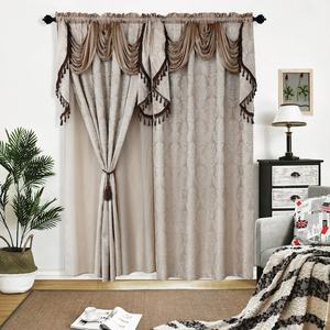 European Style Jacquard 100% Polyester Home Textile Fancy Drapes Bedroom Curtains Fabric Valance