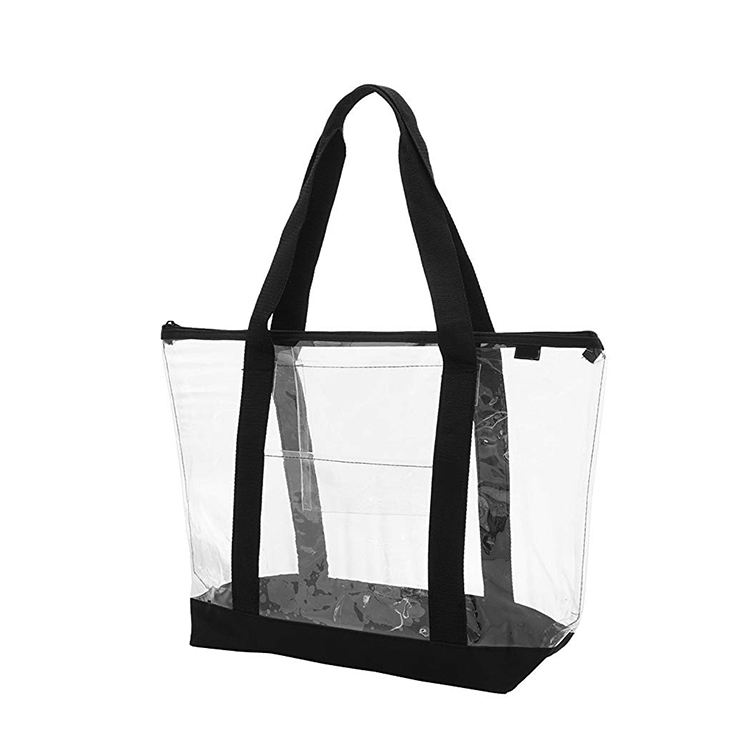 Hot selling fashion handbags customised plastic pvc tote beach bag transparent