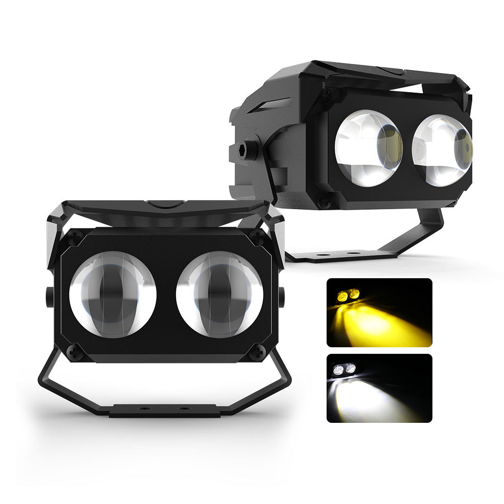 Offroad Truck 24V 12V Strobe led car spot lights Flood Dual Color 3inch amber Led Work Light for Motorbikes