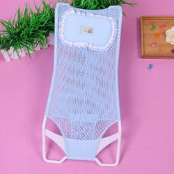 Soft Baby shower shelf shower bed with pillow, non-slip mesh surface bath net