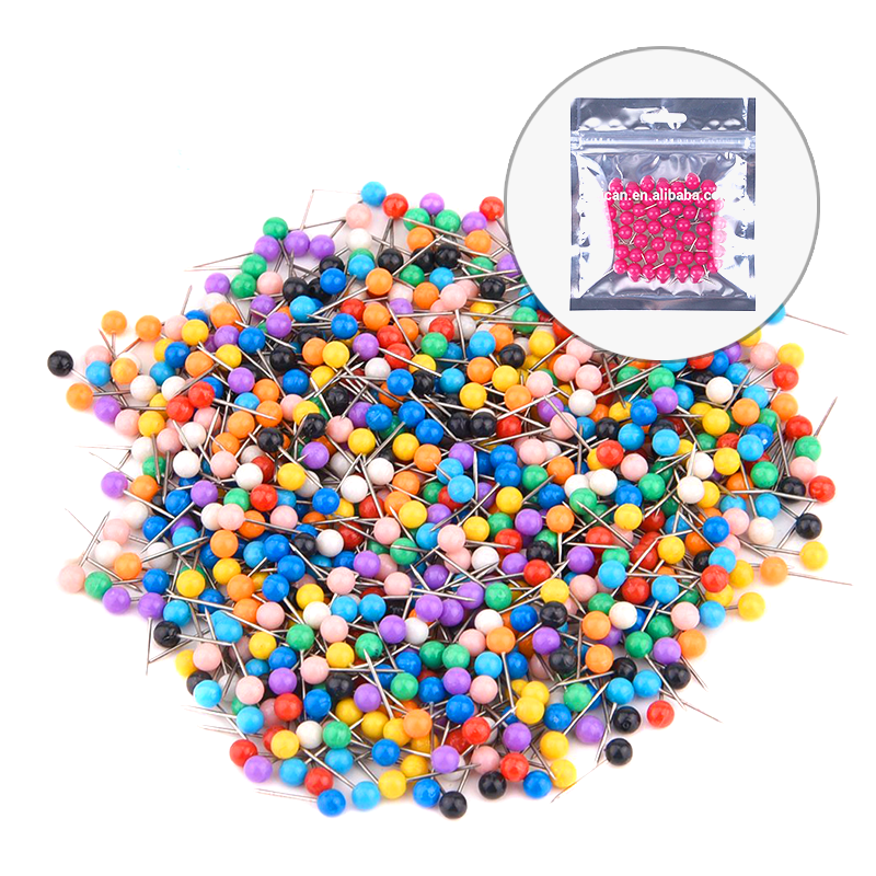 High Quality Colors Plastic Head Map Push Drawing Pins with polybag packing